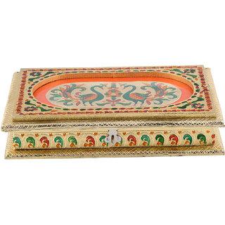 Expertdeal Handicraft 12X8 Golden Meena Dry Fruit/ Multipurpose Box (20Cmx30Cmx7Cm)