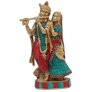 Creative Crafts Brass Metal Lord Radha Krishna Hindu God Statue With Stone Work Home Decorative Handicraft Gift - 4.5 X 2 X 8 In, Matte