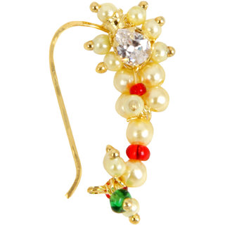 627 Adoreva Gold Red Green White Combination Maharashtrian Nath Nose Ring for Women