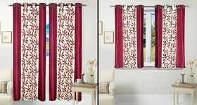 iLiv Combo Of 2 Door 2 Window Curtains - Maroonkolavri7ft5ft