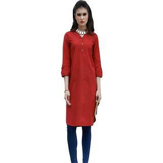 desigrrrl Red Colour Printed Cotton Stitched Kurti