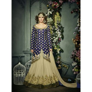 Craftliva Navy blue  cream Embroidered Banglori silk straight Suit