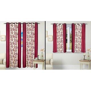 iLiv Combo Of 2 Door 2 Window Curtains - Maroonkolavri7ft5ft