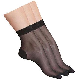 Alexaindia- 3 Pair Pack Of Black Sun Protection Transparent Ladies Socks
