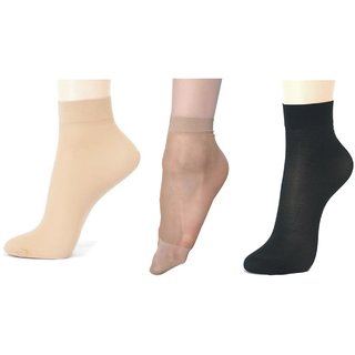 Alexaindia- Combo Of 3 Pair Pack (Beige, Skin, Black) Sun Protection Transparent Ladies Socks