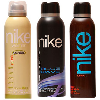 Nike Deodorants Blue wave Brown for Men and Urban Musk for Women 200ml Each (Pack of 3)