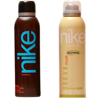 Nike Deodorants Brown for Men and Urban Musk for Women 200ml Each (Pack of 2)