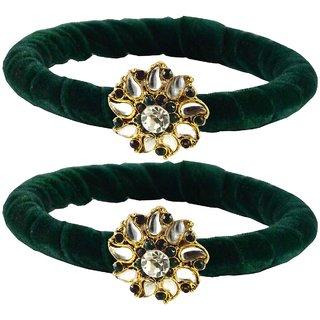 Green Stone Brass Bangle