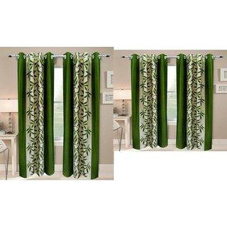 iLiv Combo Of 2 Door  2 Window Curtains - greenkolavri7ft5ft
