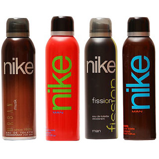 Nike Deodorants Urban Musk Red Fisison and Brown for Men 200ml Each (Pack of 4)