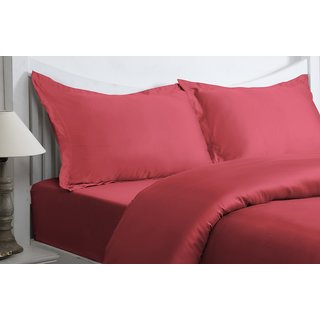 Valtellina Magenta Colour Plain 1 Double Bedsheet with 2 Pillow Covers (300 TC)