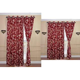iLiv Combo Of 2 Door  2 Window Curtains - maroonflower7ft5ft