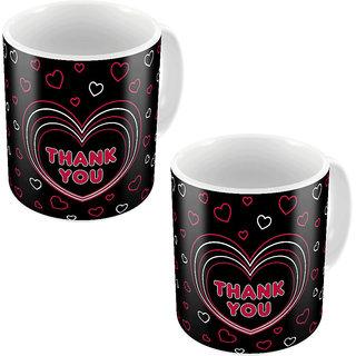 Little India Black Designer Romantic Printed Coffee Mugs Pair 753