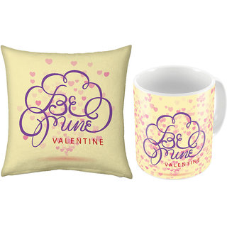 Little India Cream Color Coffee Mug n Filled Cushion Pair 331