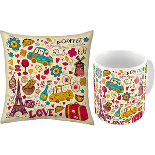 Little India Print Coffee Mug n Filled Cushion Pair 366