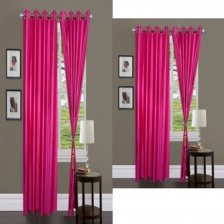 iLiv Combo Of 2 Door  2 Window Curtains - pink7ft5ft