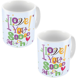 Little India Color Romantic Printed Coffee Mugs Pair 764
