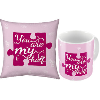 Little India Stylish Coffee Mug n Filled Cushion Pair 370