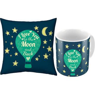 Little India Printed Coffee Mug n Filled Cushion Pair 371