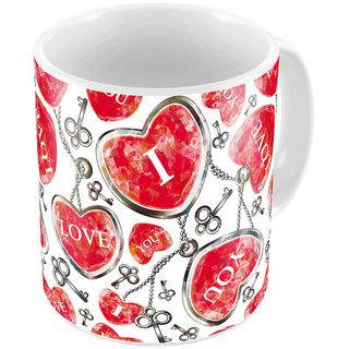 Little India White Designer Romantic Printed Coffee Mug 654