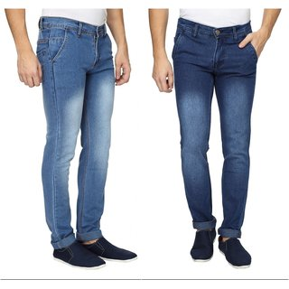 Wajbee Mens Stretchable Slim Fit Faded Jeans-Pack of 2