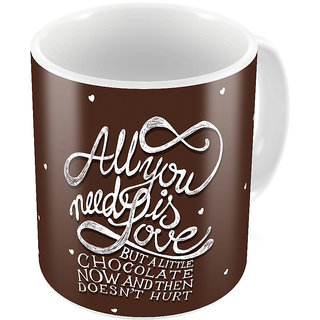 Little India Brown Designer Romantic Print Coffee Mug 751