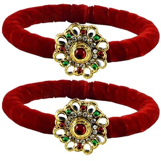 Red Stone Brass Bangle