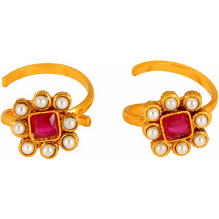 643 Adoreva Premium Quality  Gold White Red Alloy Pearl Kundan Antique Look Toe Rings for Women