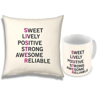 Printed Design Fancy Mug n Soft Cushion For Sister 679