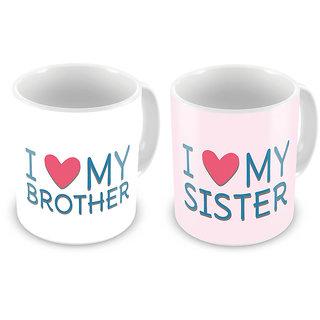 I Love my Brother n Sister Printed Coffee Mug Pair 691