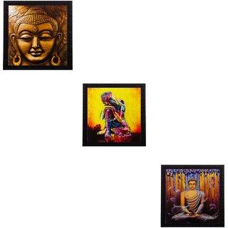 eCraftIndia Set of 3 Meditating Buddha Matt Textured UV Art Painting