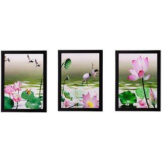 eCraftIndia Set of 3 Floral Matt Textured UV Art Painting