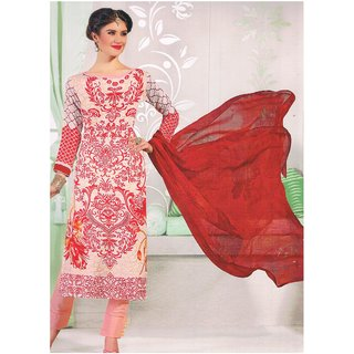 Red and white Pure SATIN COTTON with messed chiffon dupatta