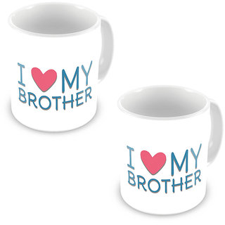 I Love my Brother Printed Design Coffee Mug Pair 539