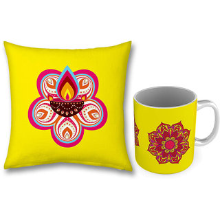 Red Flower Print Yellow Coffee Mug n Cushion Combo 756