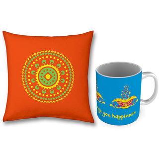 Printed Designs Blue Coffee Mug n Cushion Combo 775