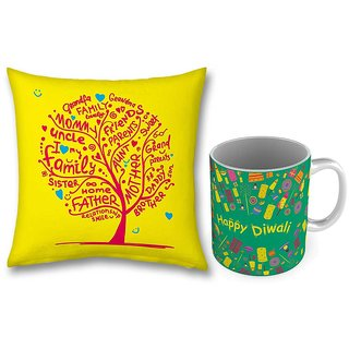 Designer Printed Green Coffee Mug n Cushion Combo 778