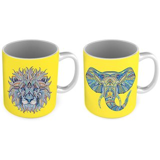 Elephant n Lion Print Delightful Coffee Mug Pair 784