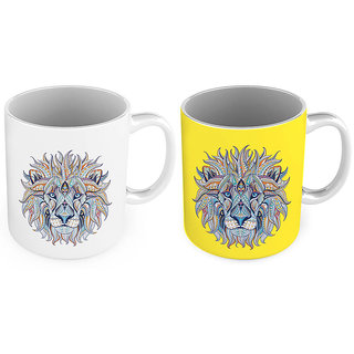 Designer Lion Printed Delightful Coffee Mug Pair 785
