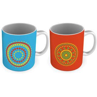 Printed Design Special Blue n Red Coffee Mugs Pair 787