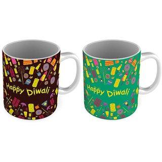 Fancy Printed Style Brown n Green Coffee Mug Pair 793