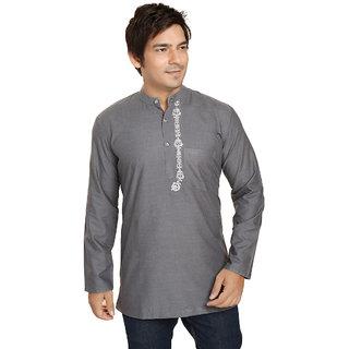 ARCH ELEMENTS Casual cotton Grey Plain Kurta For Mens