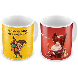 Santa Claus Printed Design Cute Coffee Mugs Pair 835