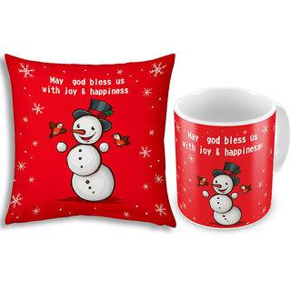 Little India Snowman Printed Red Cushion n Coffee Mug Pair 837