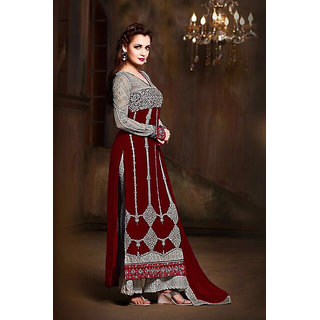 Craftliva MAROON  GREY EMBROIDERED GEORGETTE STRAIGHT SUIT