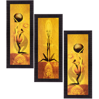 eCraftIndia Set of 3 Satin Matt Textured Art Painting