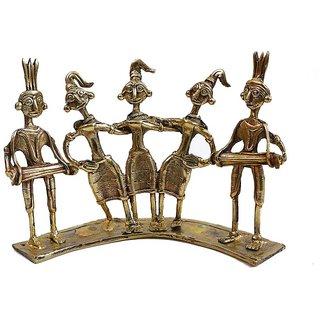 Creative Craft Dhokra Art Dancing Adivasis Set Of 5 Brass Metal Home Decorative Handicraft Gift