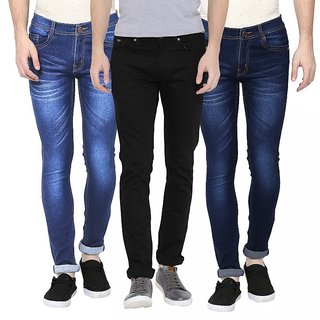 Stylox Men's Blue & Black Slim Fit Jeans (Set of 3)