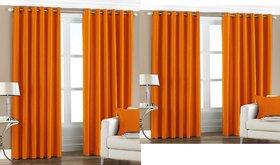 iLiv Combo Of 2 Door  2 Window Curtains - orange7ft5ft