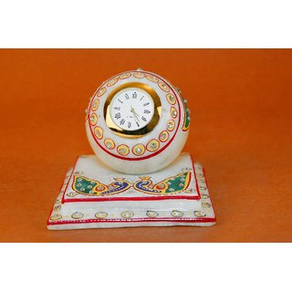 Creative Craft Marble table Clock 3 Hand Painting Home Decorative Handicraft Gift